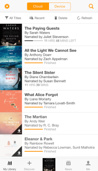 Audible app Booklist