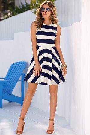 Boston Proper Ponte stripe dress